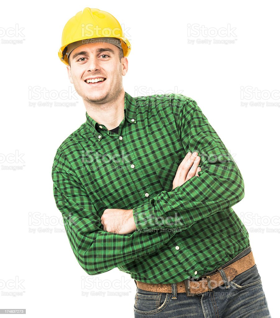 Manual worker with helmet leaning royalty-free stock photo