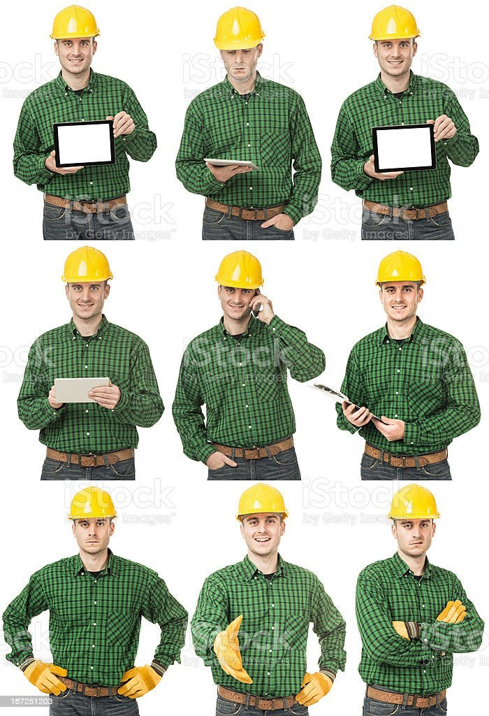 Manual worker with protective helmet on various scene royalty-free stock photo