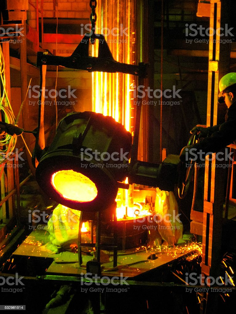 Manual Workers in Metallurgy stock photo