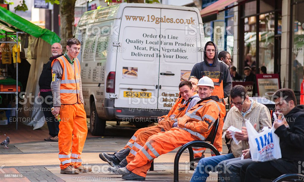 Manual workers taking a break stock photo