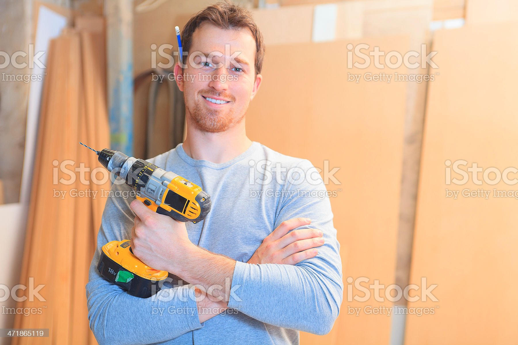 Manuel Worker - Holding Electric Drill royalty-free stock photo