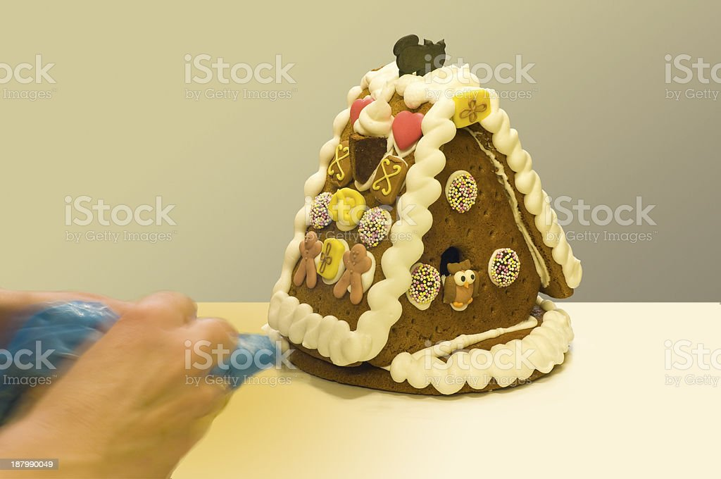 Manufacture of a gingerbread house stock photo