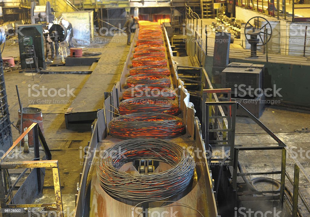 Manufacture of a steel wire stock photo