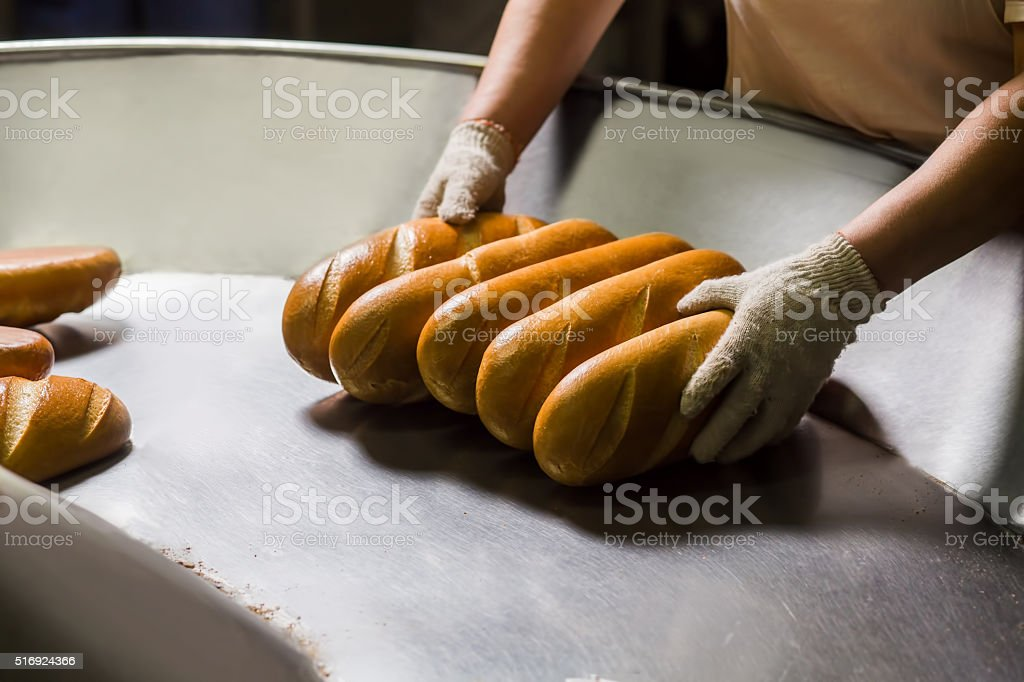 Manufacture of bakery products. stock photo