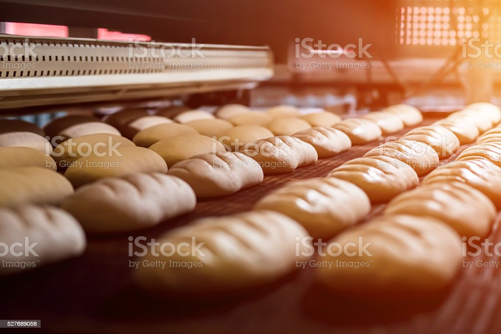 Manufacture of bread. stock photo