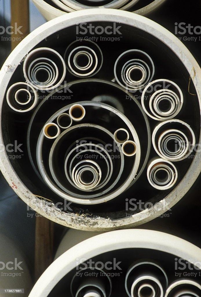 Manufactured plastic pipe of various sizes royalty-free stock photo