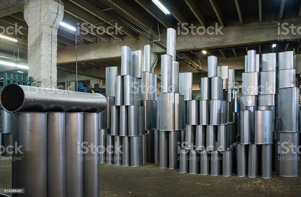 manufactured silver metallic tubes stock photo