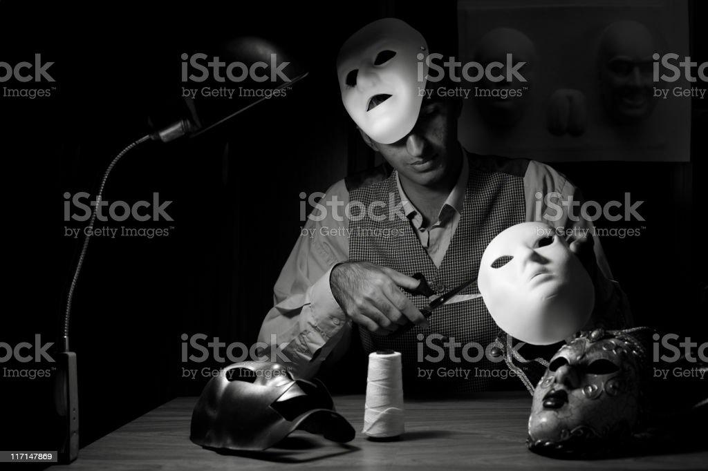 Manufacturer of masks royalty-free stock photo