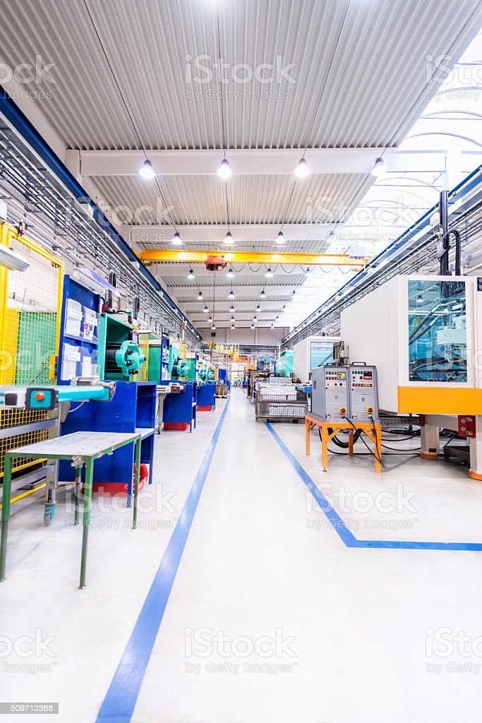Manufacturing corridor stock photo