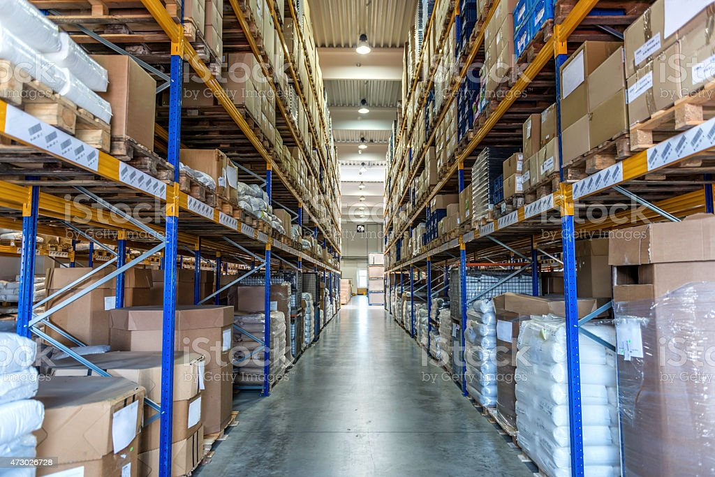 Manufacturing storage warehouse stock photo