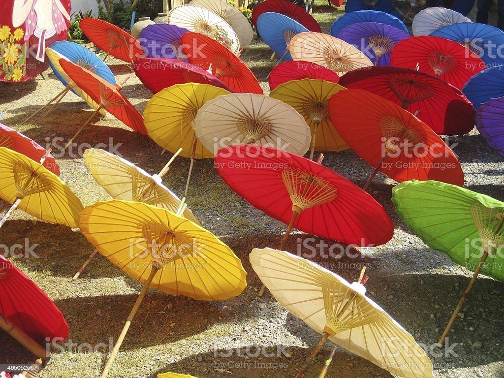 Manufacturing Sun Umbrellas, Thailand stock photo