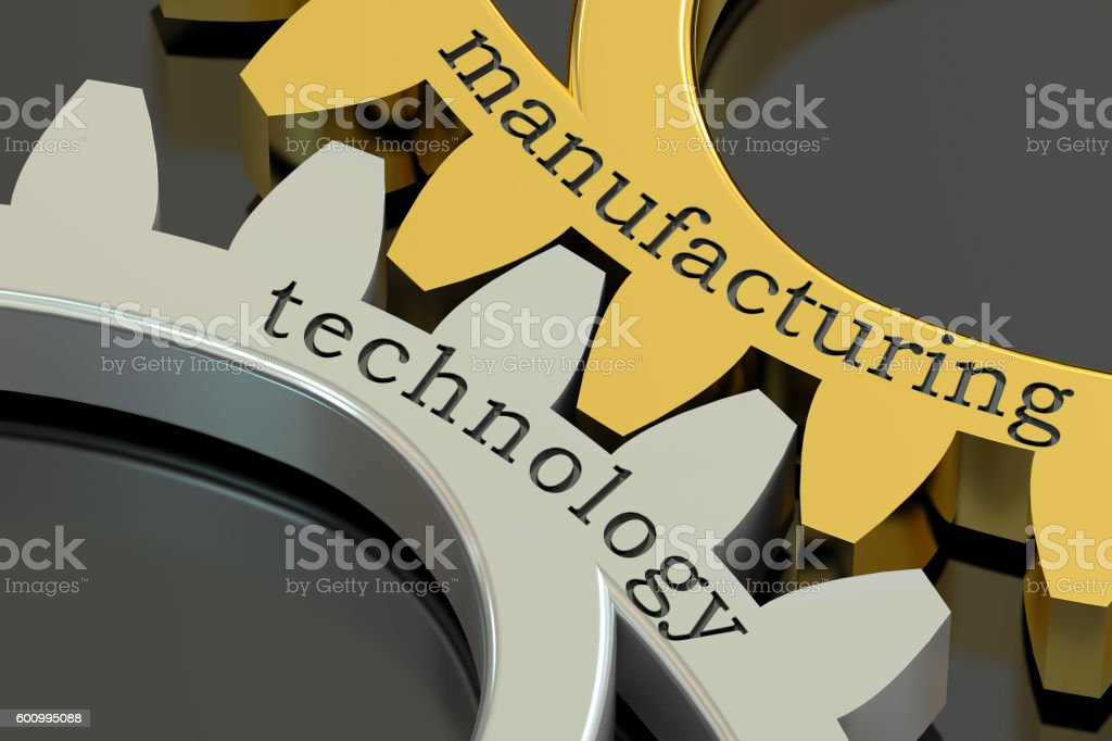 Manufacturing Technology concept on the gearwheels, 3D rendering stock photo