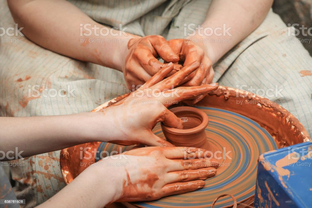 Manufacturing vases stock photo
