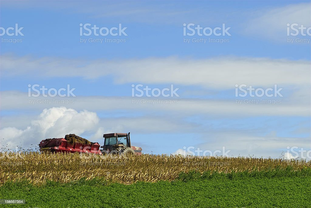 Manure Spreader in Field stock photo