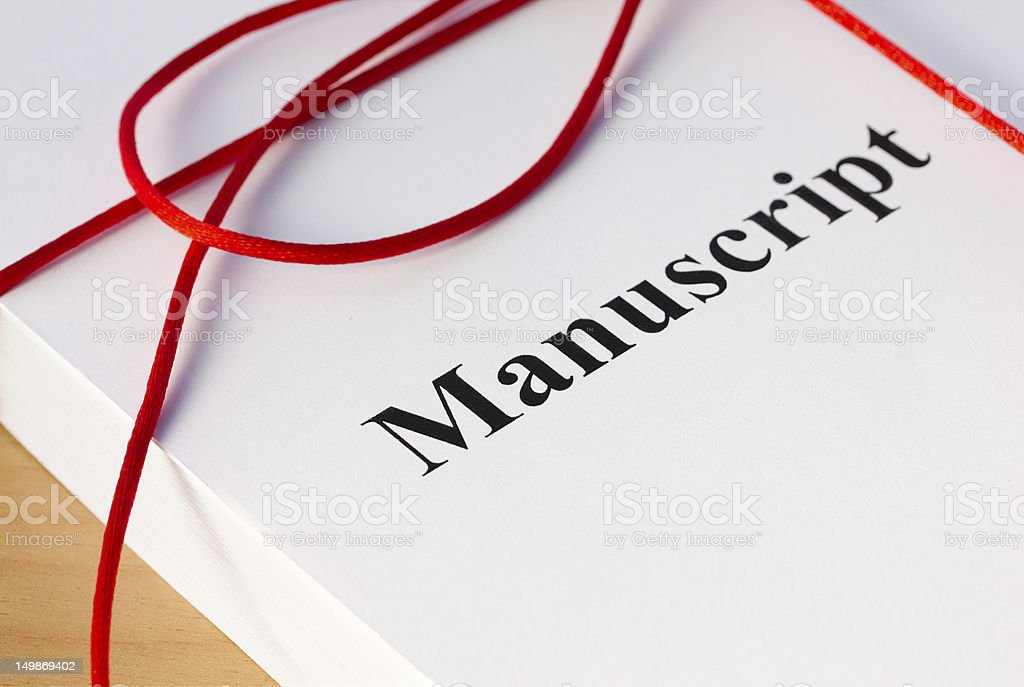 Manuscript from author bound in red twine stock photo