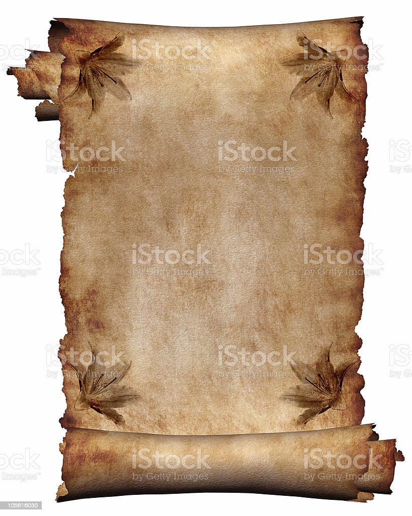 Manuscript with flowers paper texture background royalty-free stock photo