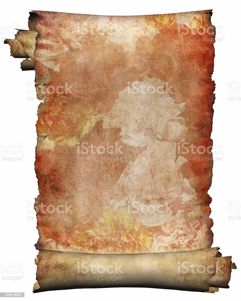 Manuscript with red flowers paper background isolated royalty-free stock photo