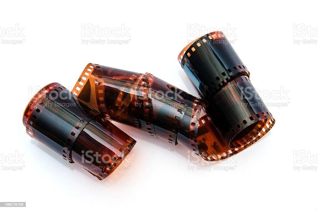 Many 35 mm negative film with family photos isolated stock photo