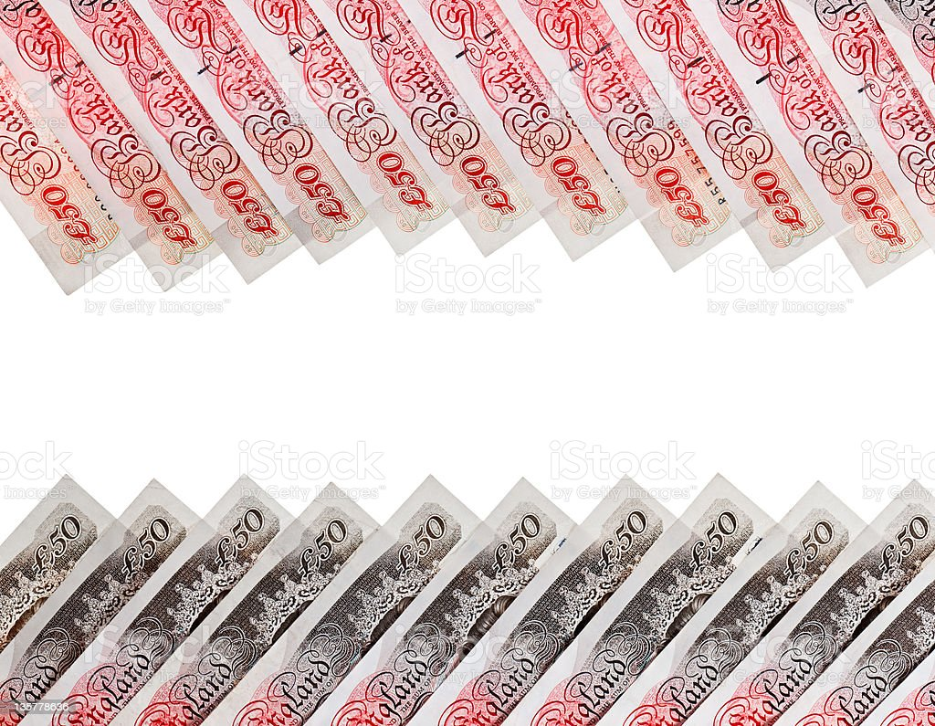 Many 50 pound sterling bank notes business background, isolated royalty-free stock photo