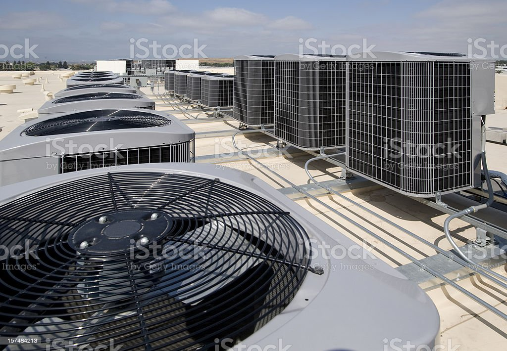 Many air conditioning units outside royalty-free stock photo