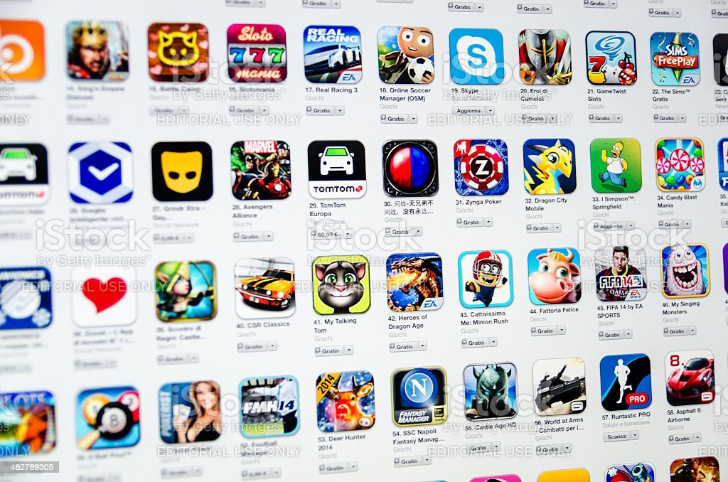 Many App Icons On Lcd Screen royalty-free stock photo