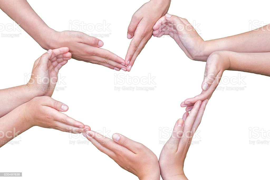 Many arms of girls construct heart isolated on white stock photo