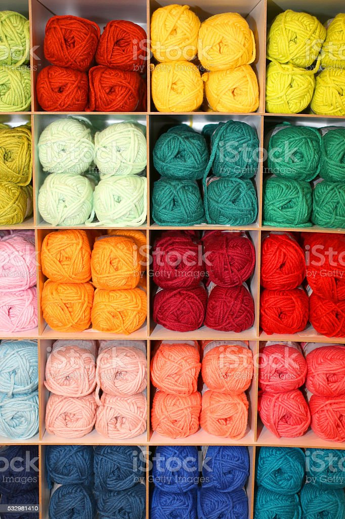 many balls of soft wool for sale stock photo
