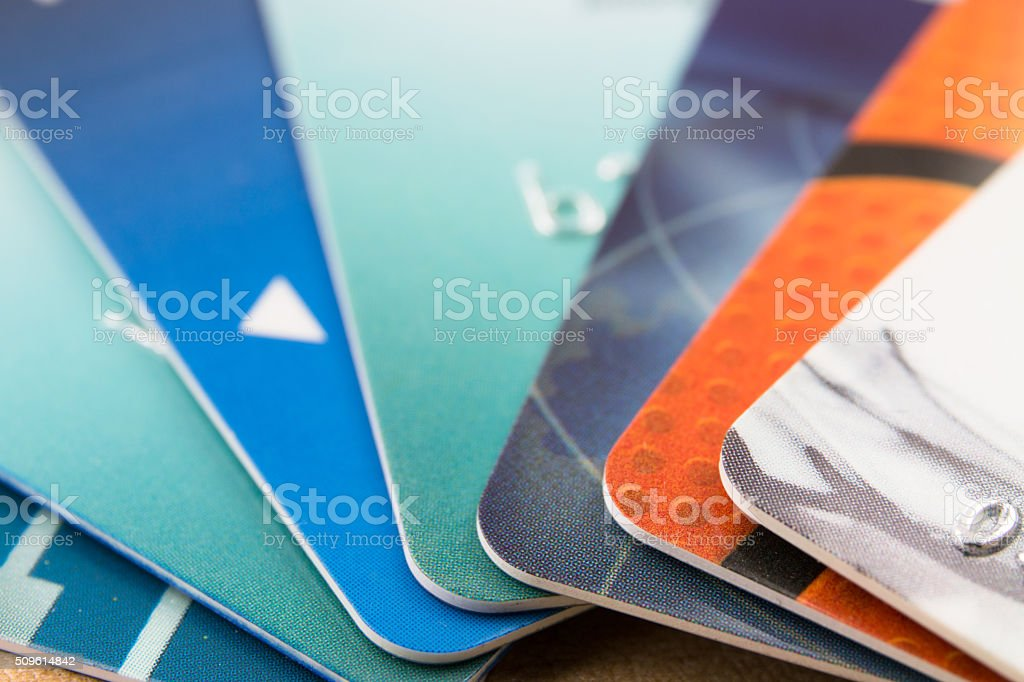 Many bank cards stock photo