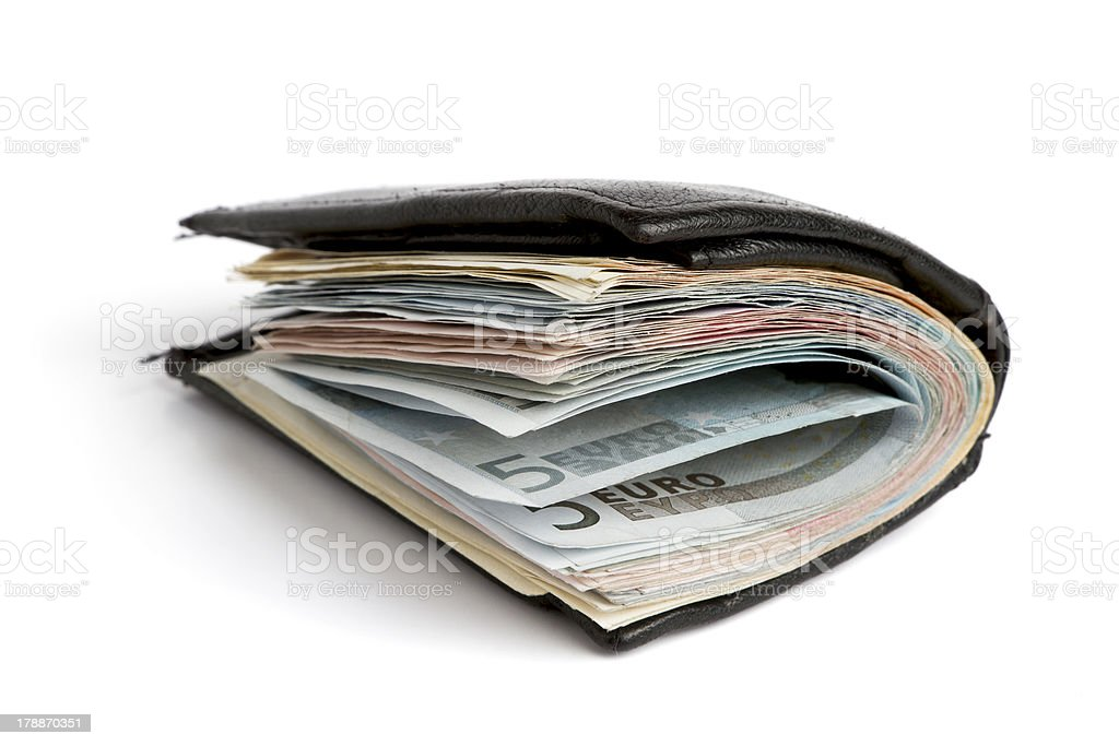 many banknotes in wallet royalty-free stock photo