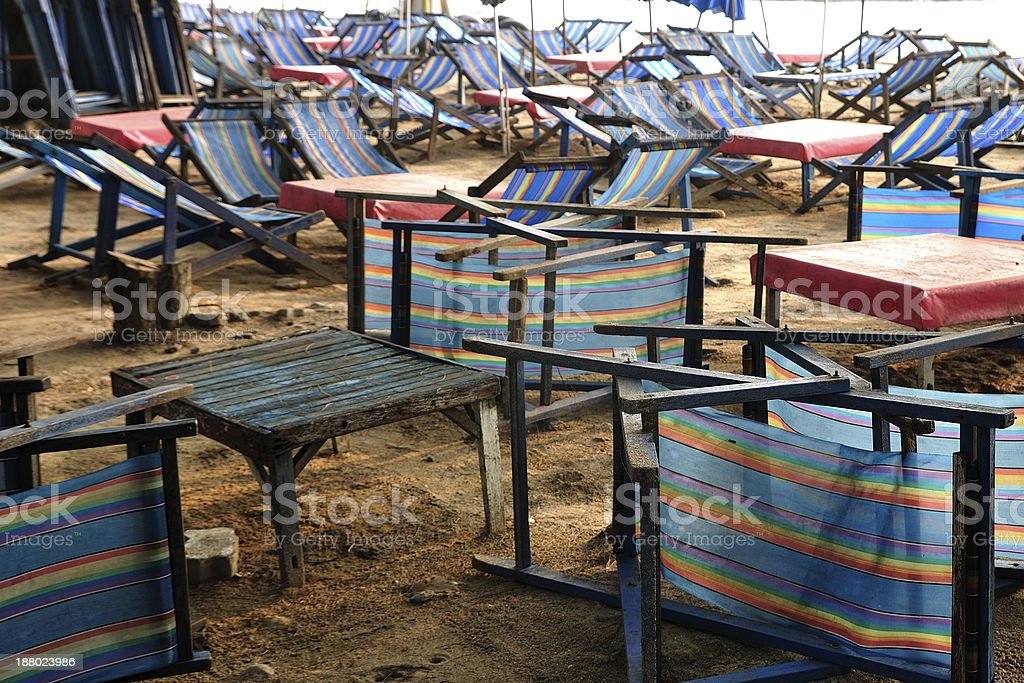 Many beach camp beds on beaches. royalty-free stock photo