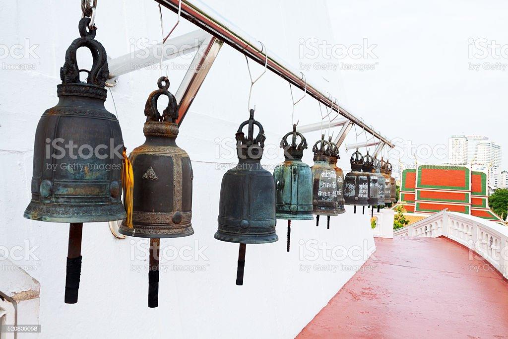 Many bells at Wat Saket stock photo
