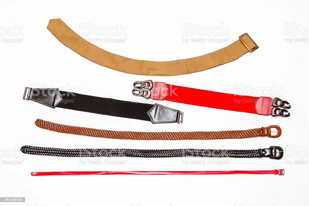Many Belt on white background. stock photo