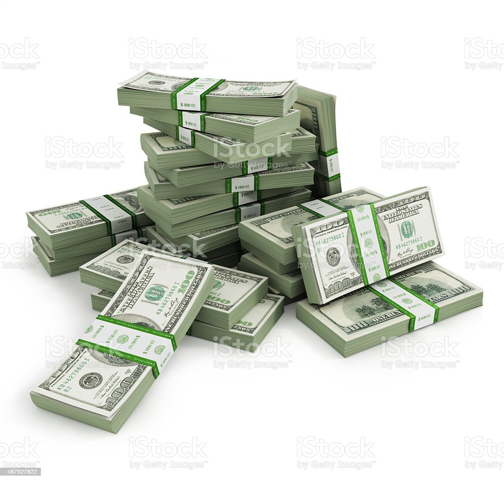 Many Bill stacks isolated stock photo