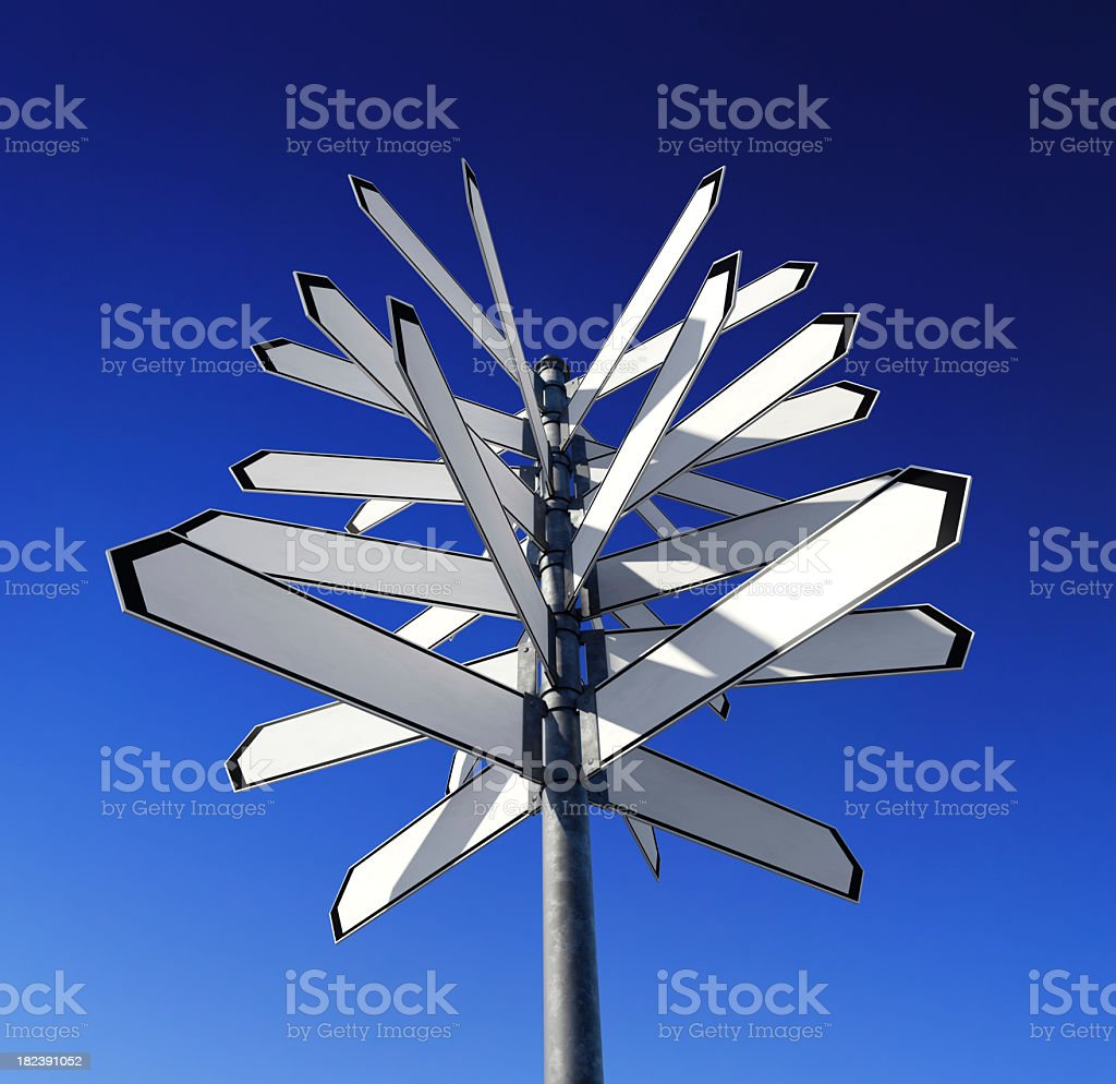 Many blank boards on a signpost stock photo
