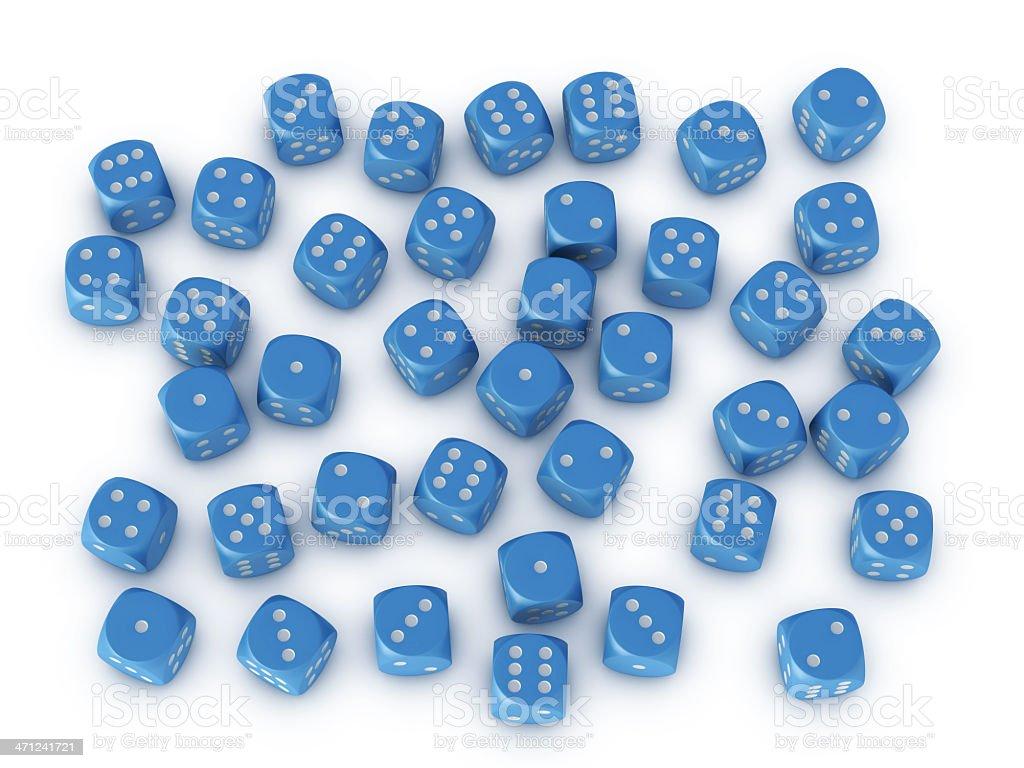 Many Blue Dices Random Result royalty-free stock photo