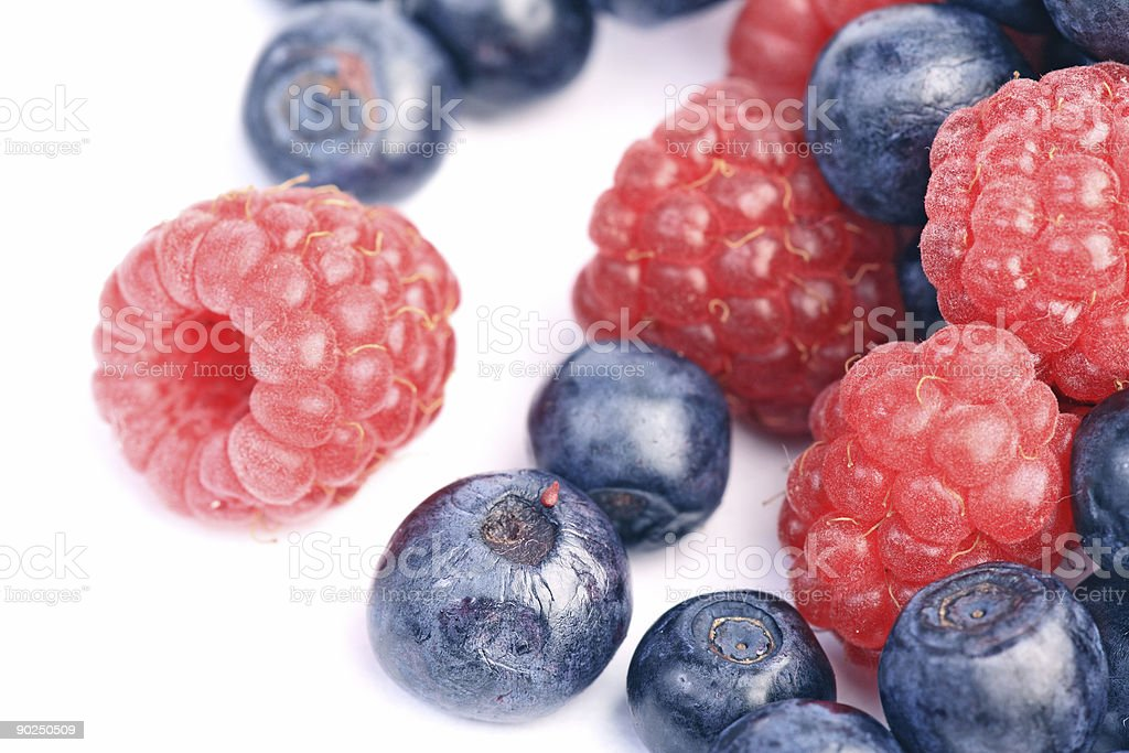 Many blueberries & raspberries royalty-free stock photo