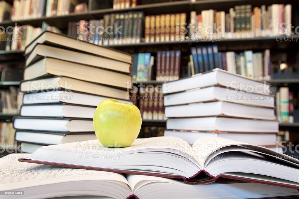 Many books in library - horizontal royalty-free stock photo