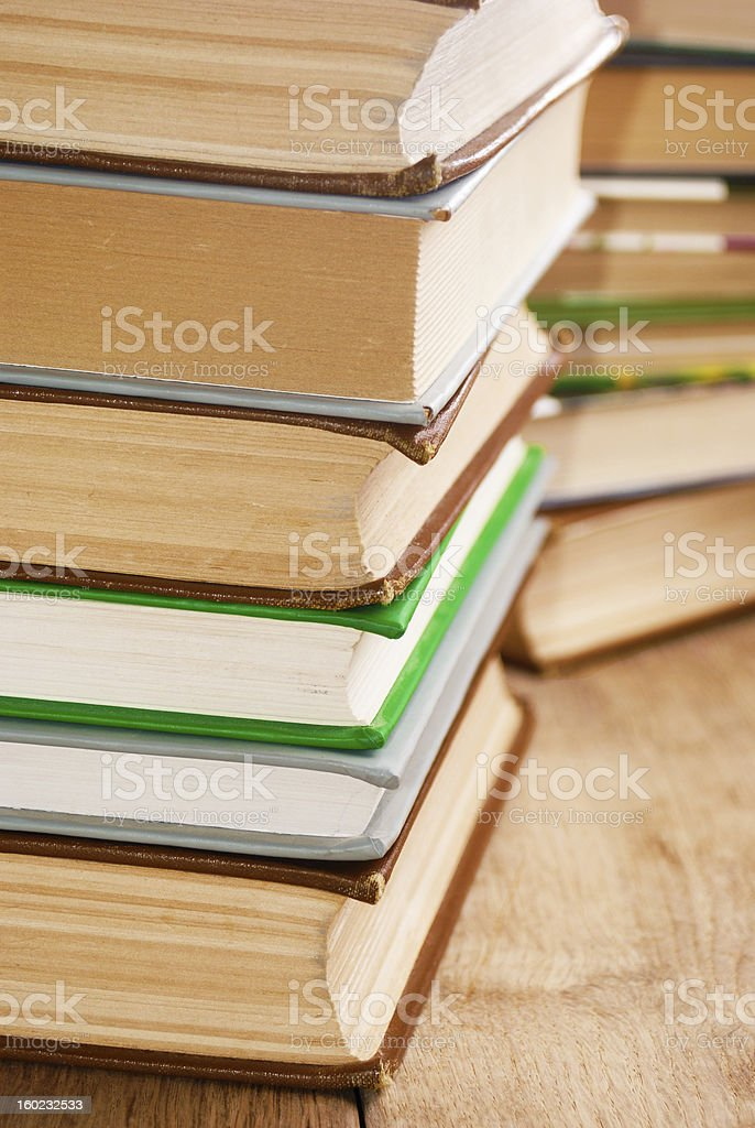 Many books on the table royalty-free stock photo