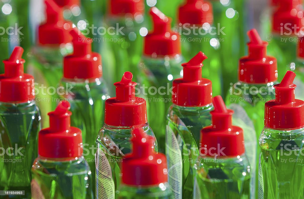 Many Bottels Green Abstergent stock photo