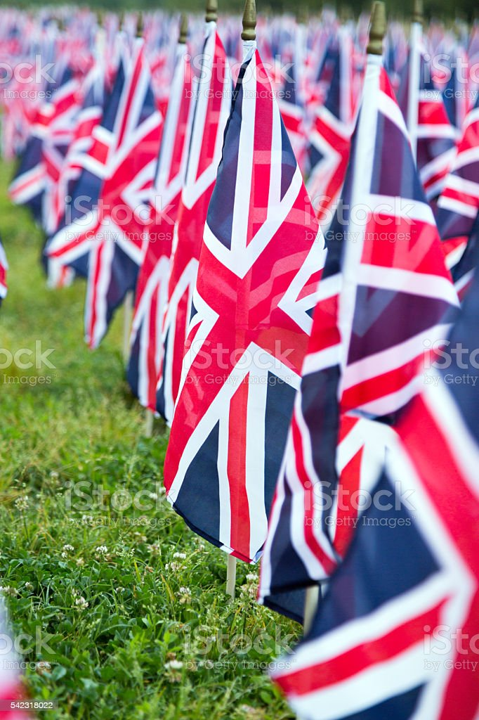 Many British UK England Flags Set Up in Rows stock photo