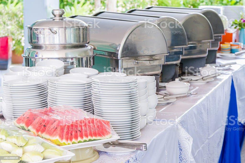 Many buffet trays. stock photo