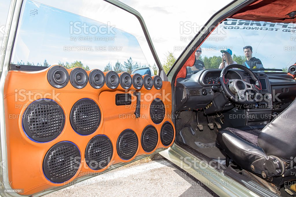 Many built-in door car music speakers stock photo