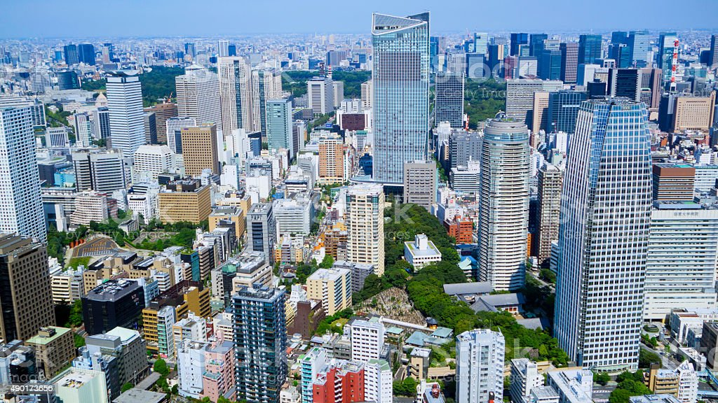 Many business buildings in Tokyo stock photo