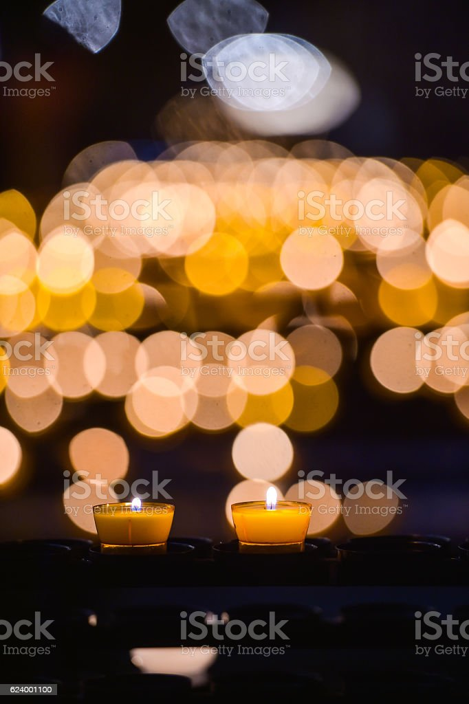 Many Candles at church in Strasbourg, France, Blur Background stock photo