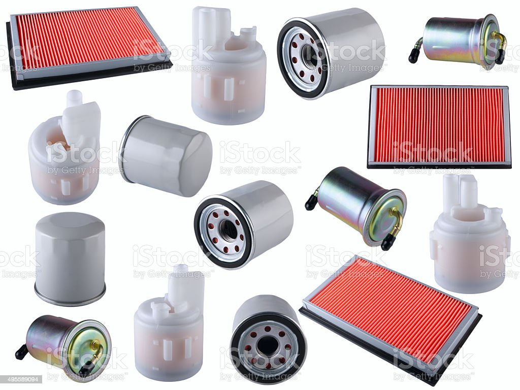 Many car filters isolated on White Background. Automobile spare part stock photo