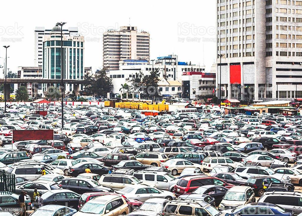 Many cars at downtown Lagos, Nigeria. stock photo