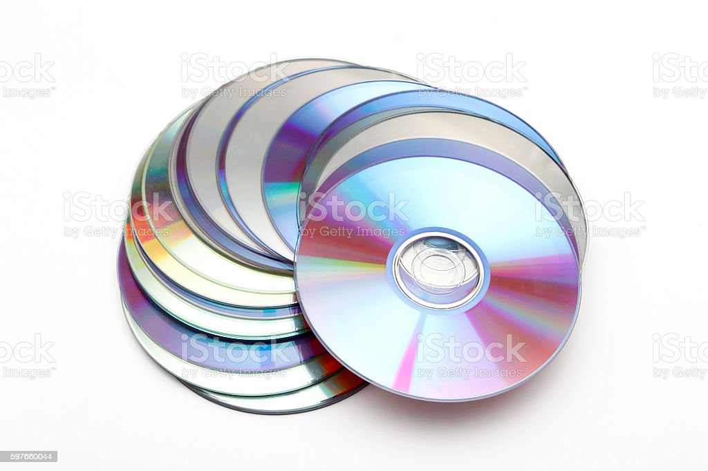 Many CDs on white background stock photo