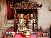 Many chinese god and angel statue in Chinese joss house