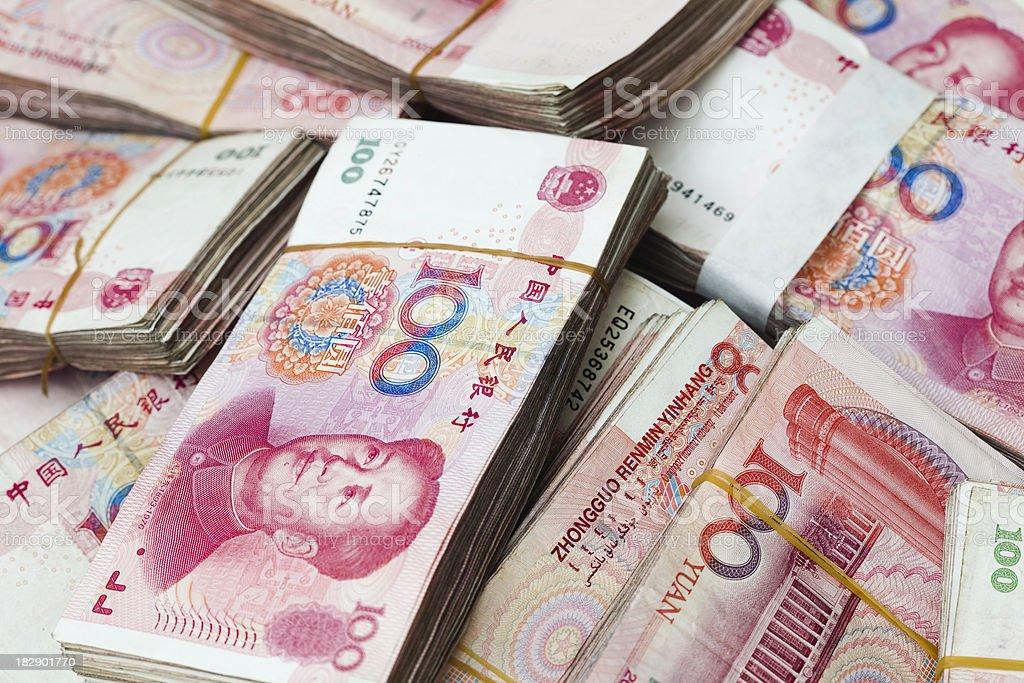 many chinese yuan stock photo
