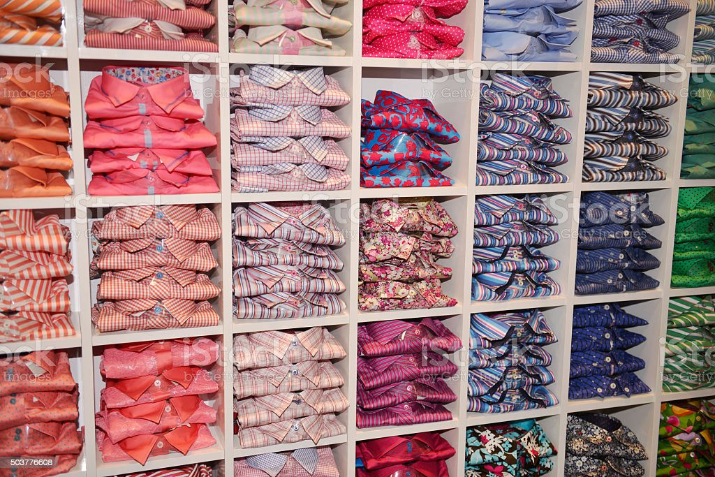 Many Clothes inside store stock photo